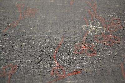 Japanese Wool washed black with light red and white flowers 1257