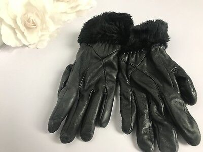 Womens Vintage Black Leather Gloves Fur Cuffs Prop Retro Kitsch Biker Ladies