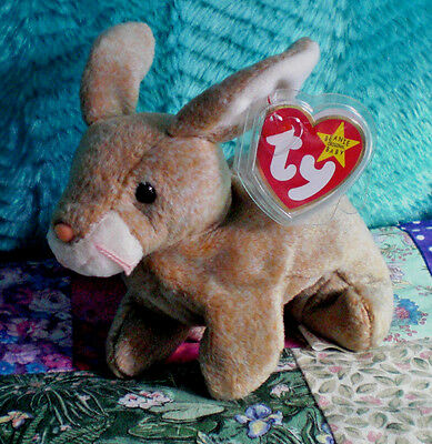 """TY BEANIE Baby 1999 """"Nibbly""""  Rabbit 7 inch, Light Brown, Retired"""