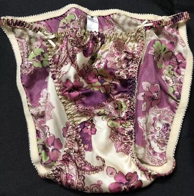 Vintage Delicates Satin String Bikini Panties Floral Silky Purple Stretchy 7