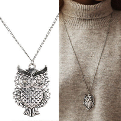 1PC Antique Silver Vintage Owl Pendant Sweater Necklace Long Women Jewelry Gift