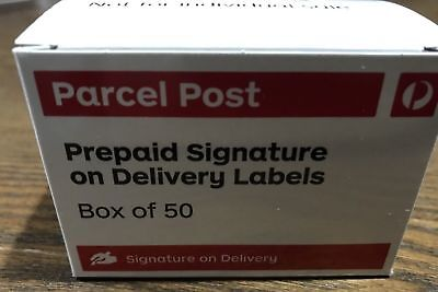 Parcel Post Signature On Delivery Box 50 Labels Registered Post