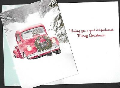 Avanti CHRISTMAS Card   Dogs   Old  Red  Truck
