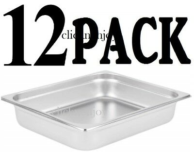 "INSERTS ONLY 12 PACK 2 1/2""Deep Stainless Steel Chafing Dish Chafer Pan Half Pan"