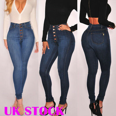 Women Stretchy Jeans Jeggings Trousers High Waist Denim Long Slim Pant Plus Size