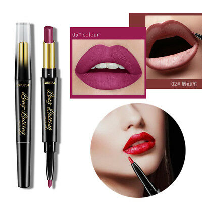 2 in 1 Matte Lip Liner Pens Double-End Lipstick Waterproof Cosmetic 15 Colors