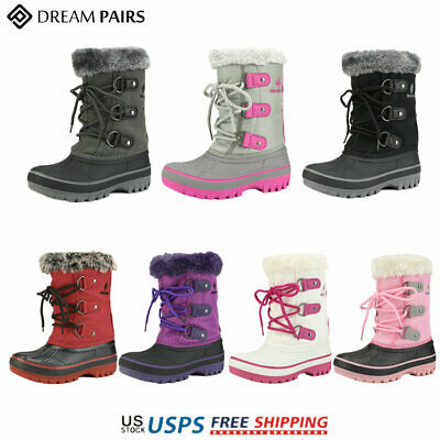 DREAM PAIRS Boys & Girls Toddler/ Kids Faux Fur-Lined Ankle Winter Snow Boots