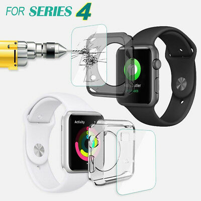 Apple Watch Series 4 Tempered Glass Screen Protector + Soft TPU Case 40mm / 44mm