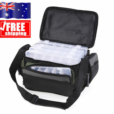 AU Large Fishing Tackle Bag Holdall Shoulder Bags + Fishing Lure Storage Box