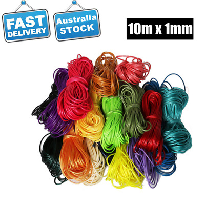 10M x1mm Waxed Cotton Thread Cord Beading String Necklace Bracelet Making DIY AU