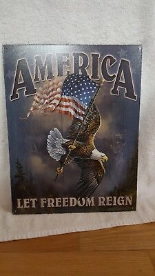 Metal sign America LET FREEDOM REIGN