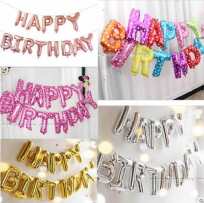 "Happy Birthday16"" Self-Inflating Balloon Banner Bunting Party Large Baloons Diy"