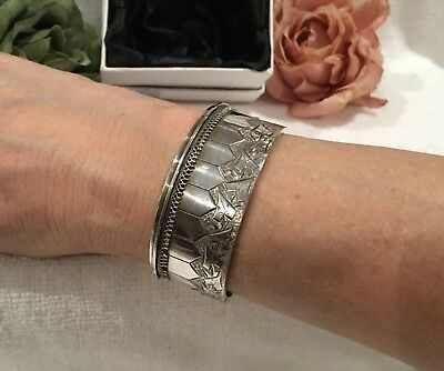 ANTIQUE VINTAGE VICTORIAN/EDWARDIAN SOLID STERLING SILVER-CUFF BANGLE-32.19 gram