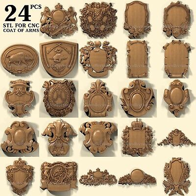 3d stl model cnc router artcam aspire 24 pcs coat of arms collection basrelief