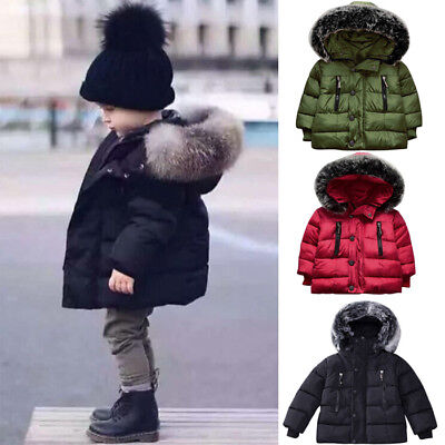 Toddler Baby Boy Winter Warm Cotton-padded Hooded Coat Thick Jacket Outwear T