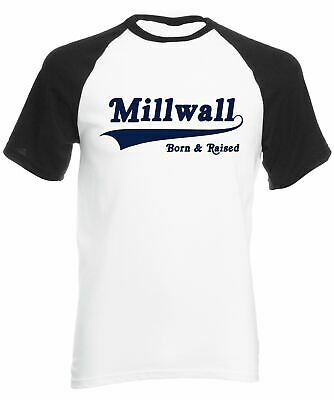 Reality Glitch Millwall Born and Raised Mens Short Sleeve Baseball T-Shirt
