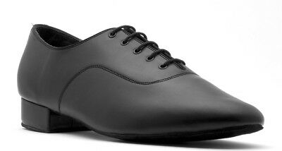 Mens Black Leather Patent Lace Up Ballroom Latin Dance Shoes V101 By Topline