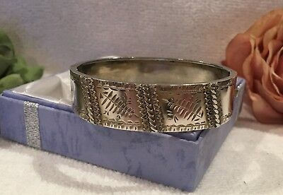ANTIQUE VINTAGE VICTORIAN/EDWARDIAN SOLID STERLING SILVER BANGLE-16.49 grams
