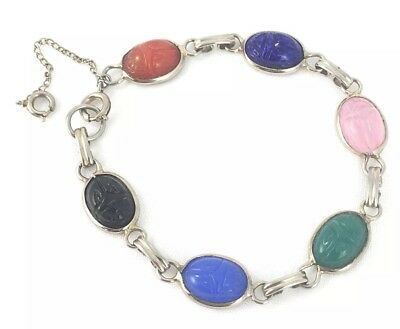 Vintage Egyptian Style Scarab Beetle Colored Glass Bracelet