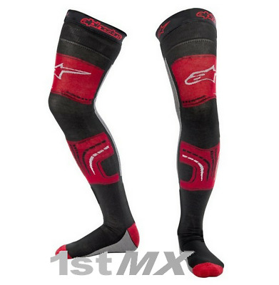 Alpinestars Motocross Knee Brace Socks Black Red Adults Large XXLarge UK9-UK13