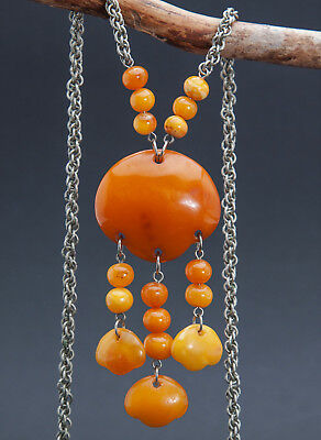 Antique Natural Butterscotch Egg Yolk Baltic Amber Necklace
