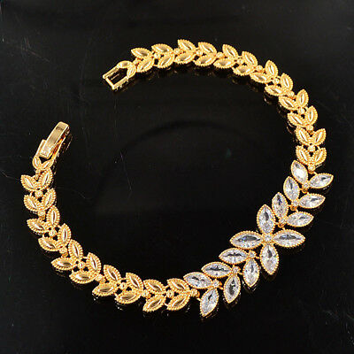 Women Yellow Gold Plated Leaf  White Colorful CZ Charm Bracelet Bangle Jewelry