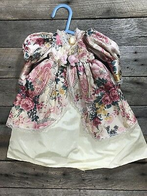 """Vintage/ Antique Doll Dress, Victorian Pink And White Lace Rose Floral 14"""""""