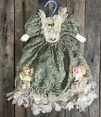 """Vintage/ Antique Doll Dress, Victorian Green And White Lace Rose Floral 16"""""""