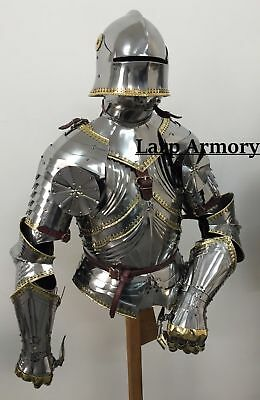 medieval gothic knight suit of armor wearable halloween costume with helmet