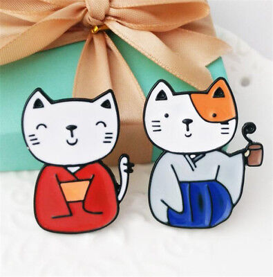 1 Pair Japanese Kimono Cats Brooch Pins Kawii Cute Collar Badges Jewelry 2pcs #
