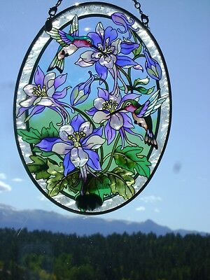 "AMIA Stained-Glass Look ""Columbine & Hummingbirds""  Oval Suncatcher  ~  NEW"