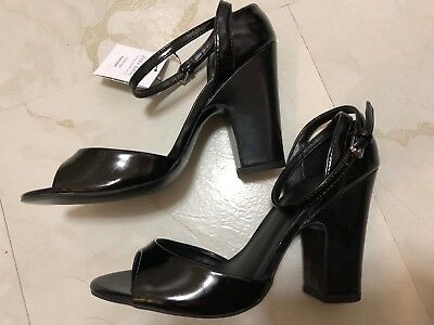 175ec1a4630 ZARA High Heel Patent Faux Leather Black Strappy Sandals Chunky Heels Size  6.5