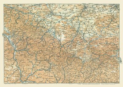 Central Germany Map.International Map Central Germany Baedeker 1914 32 26 X 23