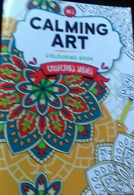 Calming Art A5 Colouring book great designs neat for handbag NEW free P&P BOOK