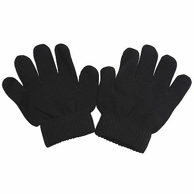 Kids MAGIC GLOVES Girls Boys Childrens Toddlers Winter BLACK Soft Stretch