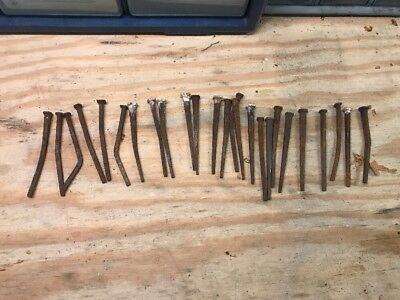 Lot Of 25 Vintage 3 Inch Square Head Nails Spikes Antique