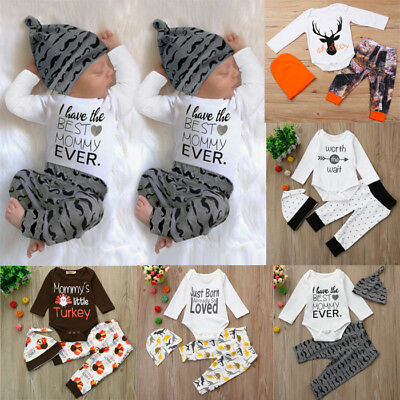 Newborn Infant Baby Boy Long Sleeve Romper Tops Pants Hat 3PCS Outfit Clothes T