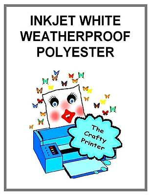 INKJET WEATHERPROOF Permanent Adhesive Decal Paper -  2 Sheets GLOSSY WHITE
