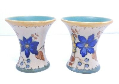 Vintage Gouda Holland Signed Pottery Small Vases Hand Painted Flowers Lot of 2