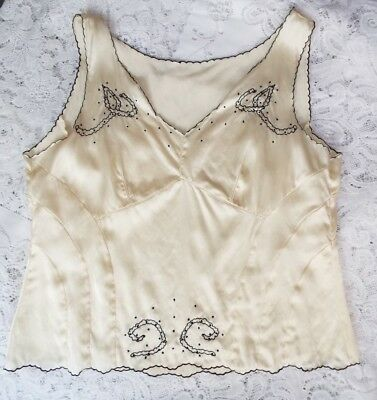 Beautiful Vintage Camisole Sumtuous Ivory Silk Black embroidery Approx size 16