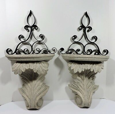 Two Corbel Wall Sconce Shelves