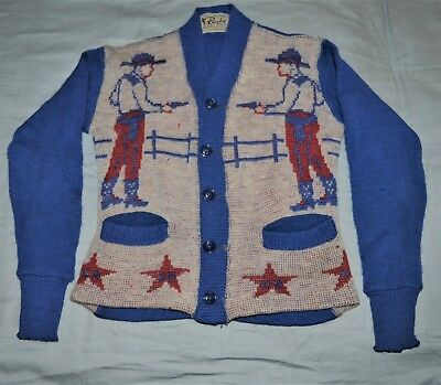 Vintage Childs Kids Rugby Knitting Mills Ny Wool Sweater Western Cowboy 62 00 Picclick