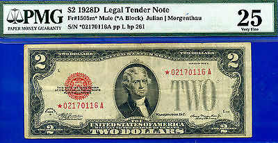 *FR-1505m* 1928-D $2 US Note (( Mule STAR )) PMG Very-Fine 25 # *02170116A