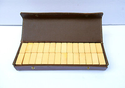 Bakelite Vintage Miniature Travel Domino Set with Wood Pegboard