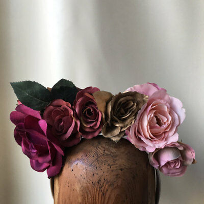 Flower Crown - Berry & Dusty Pink Hand-made Fascinator Headpiece