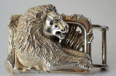 Barry Kieselstein Cord Sterling Silver Lion Belt Buckle