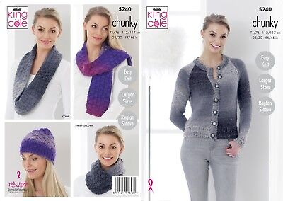 Easy Knit Womens Scarf Wrap Cowl /& Hat Chunky Knitting Pattern King Cole 5276
