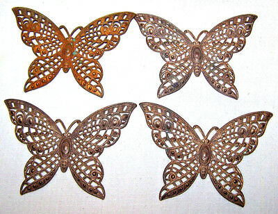"""VINTAGE CZECH RAW BRASS STAMPING filigree BUTTERFLY 4 PIECES / 2-1/2"""" large"""
