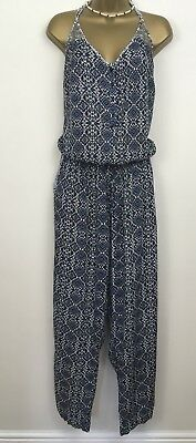 Monsoon Size Large Navy Blue White Sleeveless Strappy Playsuit Jumpsuit Aztec