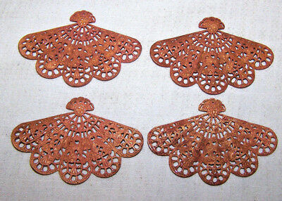 """VINTAGE CZECH RAW BRASS STAMPING filigree FAN 4 PIECES /over 2"""" large N.1123"""